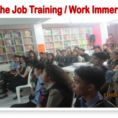On The Job Training Work Immersion